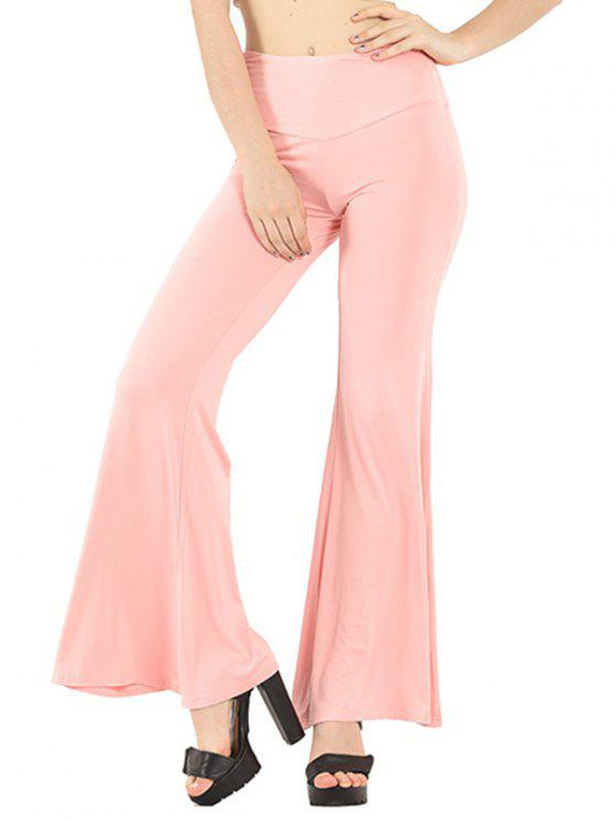 2019 Pure Color Boot Cut Yoga Pants In Light Pink S Zaful