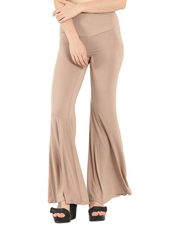 2018 pure color boot cut yoga pants in apricot s zaful