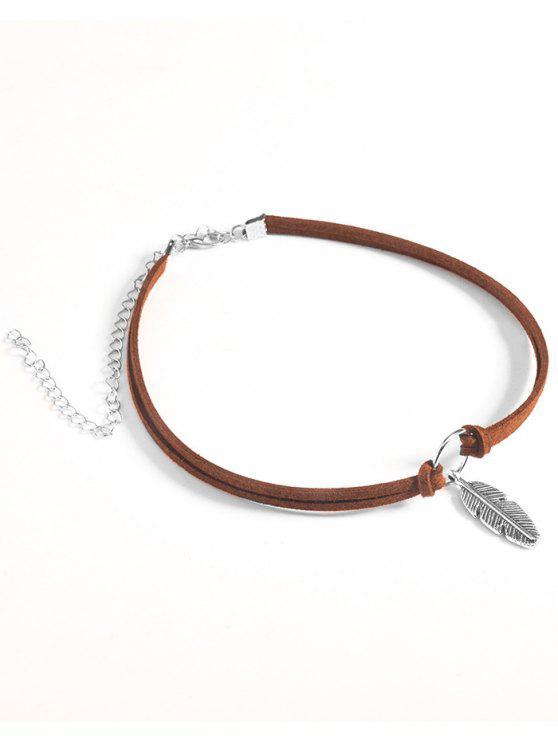fancy Feather Velvet Choker Necklace - BROWN