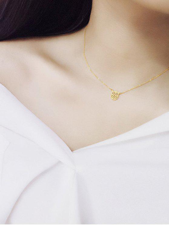 fancy Paper Cut Owl Necklace - GOLDEN