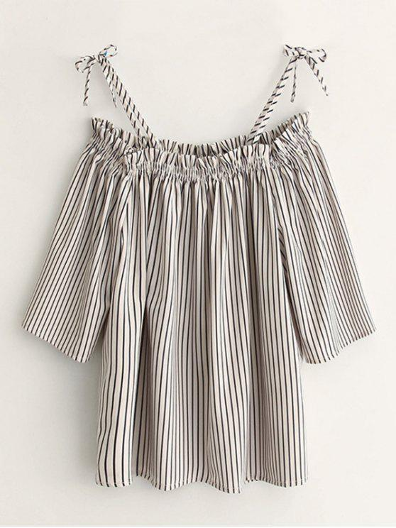 women Cold Shoulder  Striped Blouse - STRIPE M