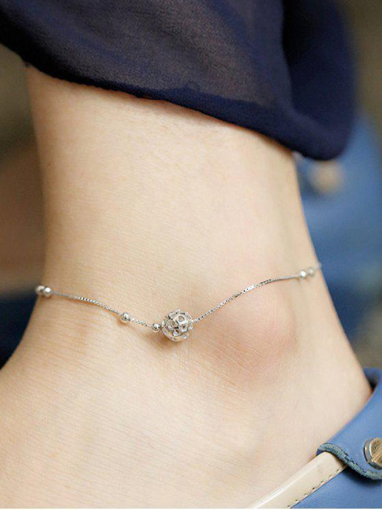 affordable Hollowed Ball Anklet - SILVER