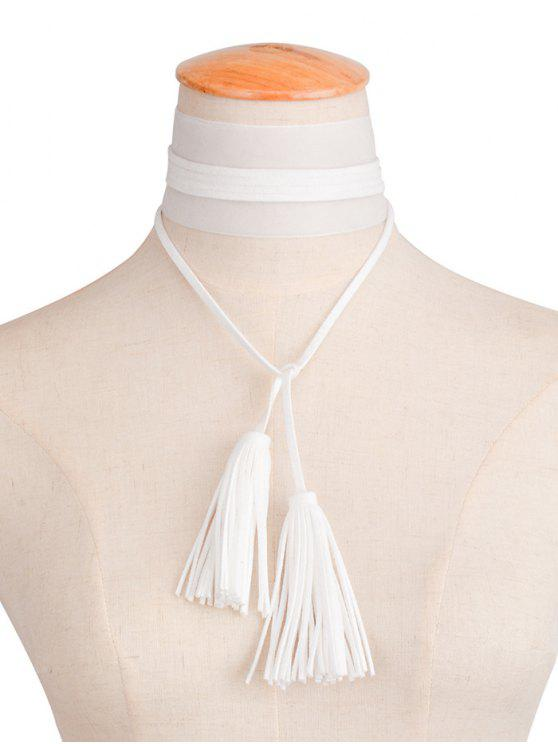 women's Velvet Tassel Necklace - WHITE