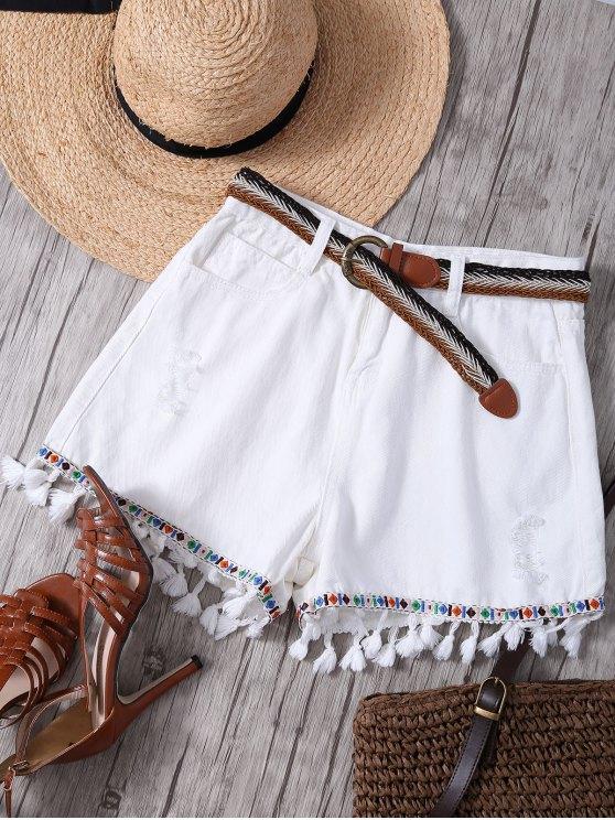 online Fringed White Denim Shorts - WHITE S