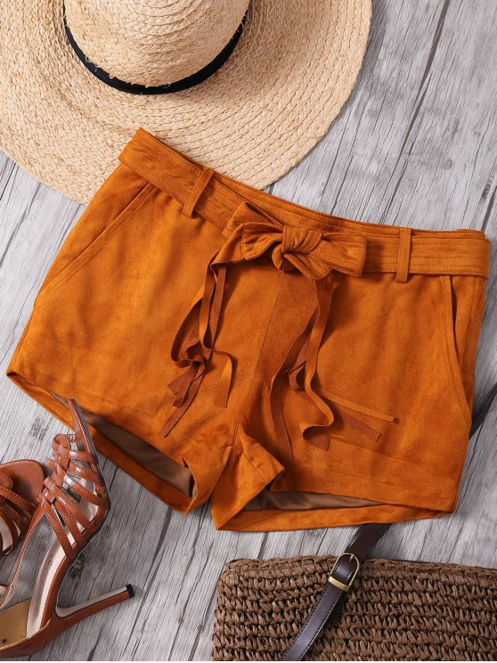 women Faux Suede Straight Leg Camel Shorts - CAMEL 2XL