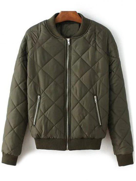 outfit Argyle Stand Neck Solid Color Jacket - ARMY GREEN S