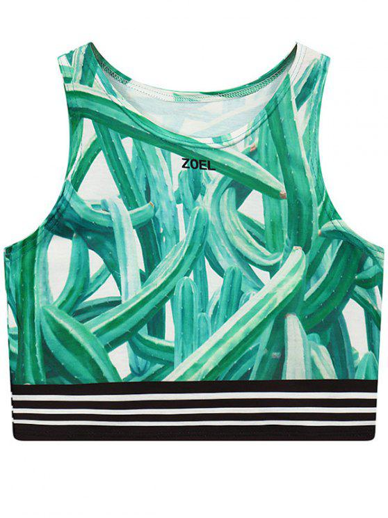 fashion Cactus Print Round Neck Cropped Tank Top - GREEN ONE SIZE