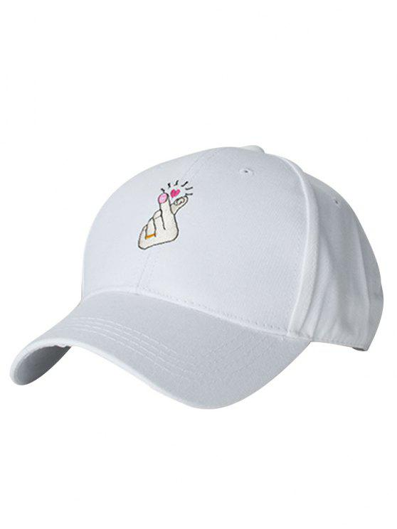 outfits Heart Gesture Embroidery Baseball Cap - WHITE