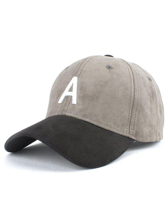 latest Letter Embroidery Suede Baseball Cap - GRAY
