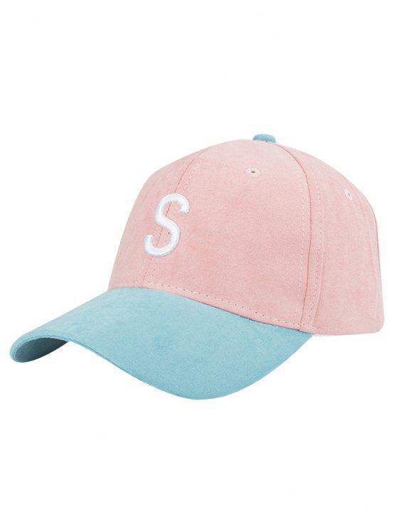Gorra de béisbol del ante bordado carta - Rosa