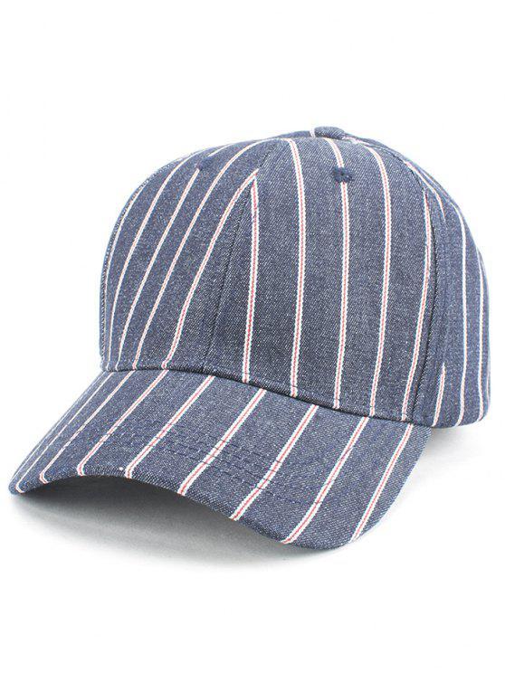 womens Vertical Stripe Baseball Cap - CADETBLUE