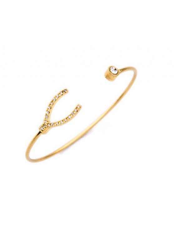 lady Rhinestone Gold Plated Cuff Bracelet - GOLDEN