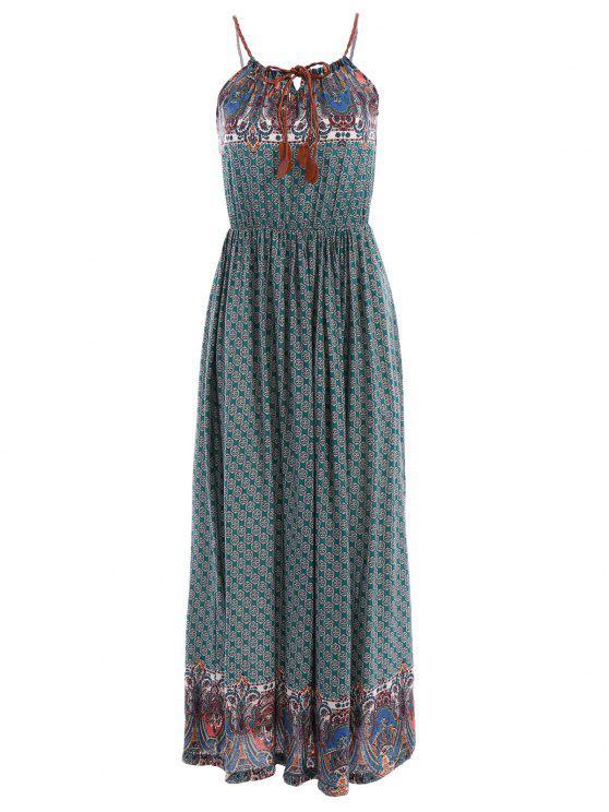 ladies Spaghetti Strap Tie-Up Floral Print Maxi Dress - GREEN M