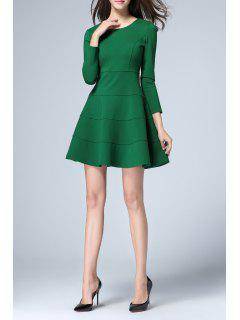 Fit And Flare Long Sleeve Dress - Green L