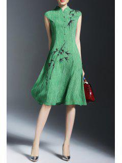Bamboo Print Knee-Length Dress - Green S