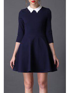 Flat Collar Mini Flared Dress - Purplish Blue S