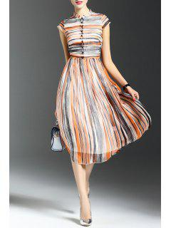 Striped Button Design Midi Dress - S
