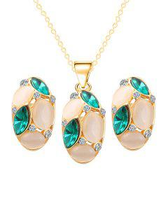 Chic Faux Opal Oval Necklace Earrings - Green