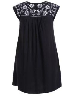Plus Size Ethnische Blume Stickerei Tunika Kleid - Schwarz Xl