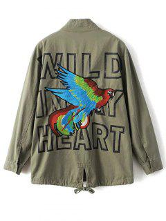 Letter Print Stand Neck Eagle Embroidered Coat - Army Green L