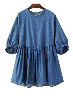 Blue Denim Round Neck Half Sleeve Dress - Blue S