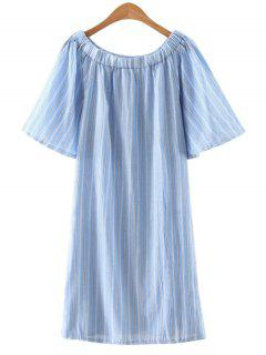 Striped Off The Shoulder Shift Dress - Azure S