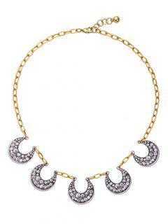Crescent Rhinestone Pendant Necklace - Silver