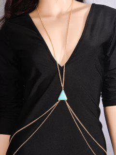 Triangle Faux Turquoise Body Chain - Blue And Golden