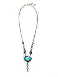 Oval Turquoise Pendant Necklace - Golden