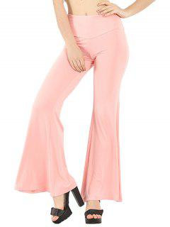 Pure Color Boot Cut Yoga Pants - Light Pink S