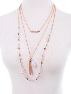 Teardrop Fringe Layered Necklace - Rose Gold