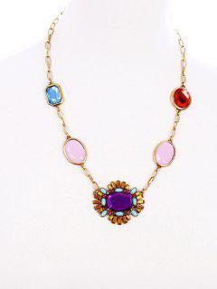 Gemstone Geometric Necklace - Amethyst