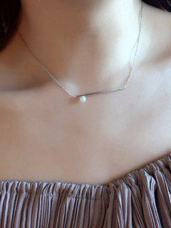 Faux Bar Collar De Perlas - Plata