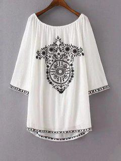 Ethnic Embroidery Casual Dress - White S