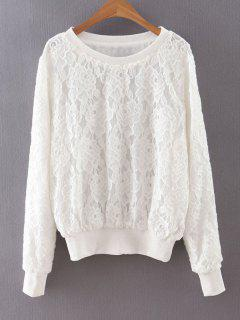 Scoop Full Lace Long Neck Sweatshirt Manches - Blanc M