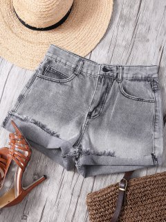 Ombre High Waisted Denim Shorts - Gray S
