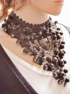 Floral Beads Necklace - Black