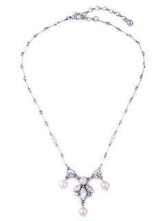Perlas De Imitación De La Hoja Del Collar Collar De La Falsificación - Plata