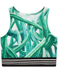 Cactus Print Round Neck Cropped Tank Top - Green