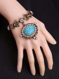 Filigree Faux Stone Charm Bracelet - Turquoise
