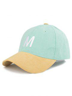 Letter Embroidery Suede Baseball Cap - Mint Green