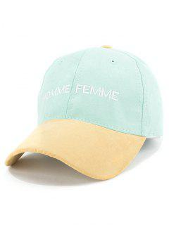 Letters Embroidery Suede Baseball Cap - Mint Green