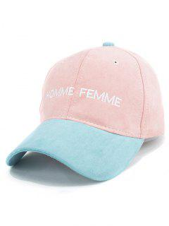 Letters Embroidery Suede Baseball Cap - Pink