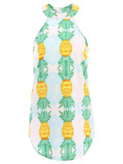 Pineapple Print Sleeveless Dress - Green L