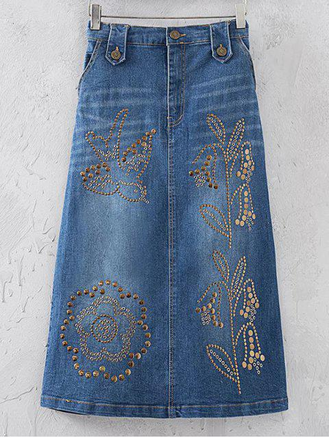 lady Rivet Sequins Denim Skirt - DENIM BLUE M Mobile