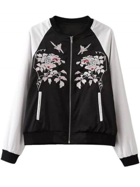 Veste de couleur contrastante à col montant avec broderie florale - Blanc et Noir S Mobile