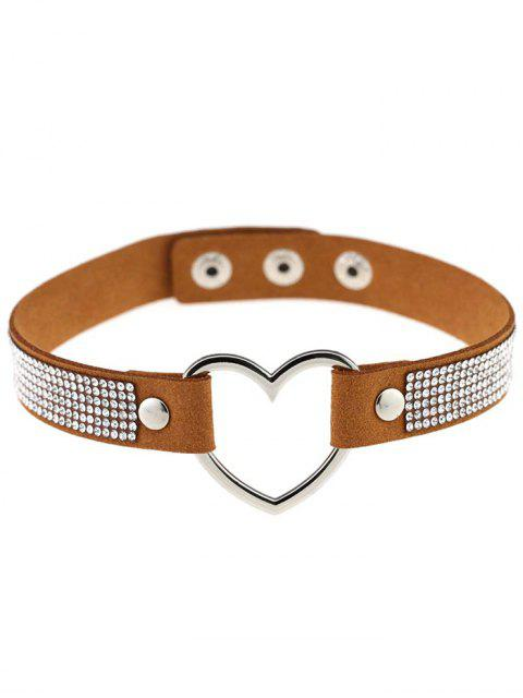 shop Rhinestone Heart Choker - COFFEE  Mobile