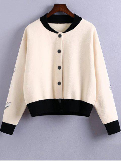 new Embroidery Stand Neck Hit Color Jacket - WHITE ONE SIZE Mobile