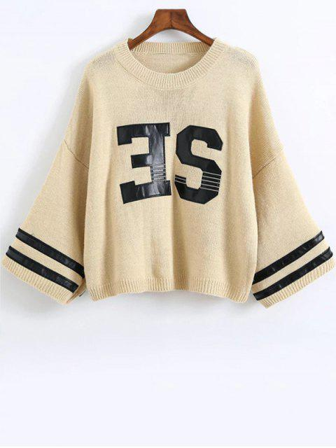 unique Letter Pattern Round Neck Jumper - OFF-WHITE ONE SIZE Mobile