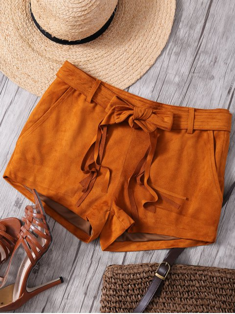 women Faux Suede Straight Leg Camel Shorts - CAMEL 2XL Mobile